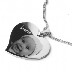 Photo/ Text Engraved Large Stainless Steel Personalised Heart Necklace
